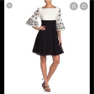 NWT,SHANI Square Neck Floral Applique Lace Dress